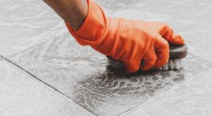 clean floor grout Oxygen Bleach